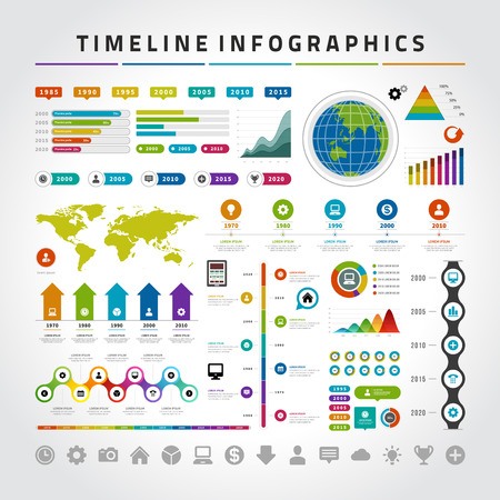 visualization: Timeline Infographic Design Templates set. Charts, diagrams, icons, objects, vector elements for data and statistics design