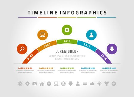 time line: Timeline infographic and icons vector design template.  For web design, timeline and workflow layout. Illustration