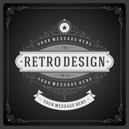 elegant frame: Retro chalkboard typographic design elements. Template for design invitations, posters and other design. Illustration