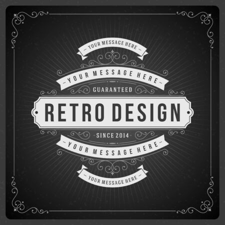 Retro chalkboard typographic design elements. Template for design invitations, posters and other design. Vector