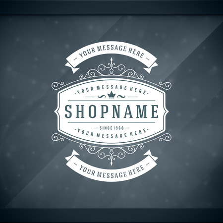 Window advertising shop decals insignia graphics. Vector design element. Place for shop name sign. Vector