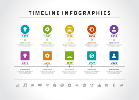 Timeline infographic and icons vector design template. For web design, timeline and workflow layout.