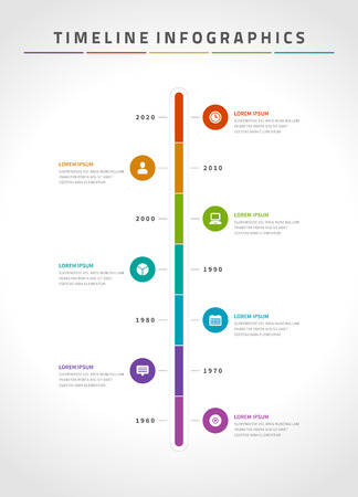 Timeline infographic and icons vector design template.  For web design, timeline and workflow layout. Illustration