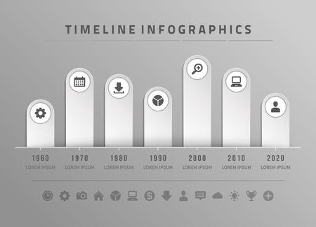 graph: Infografik Timeline und Symbole Vektor-Design-Vorlage. F�r Web-Design, Timeline und Workflow-Layout. Illustration
