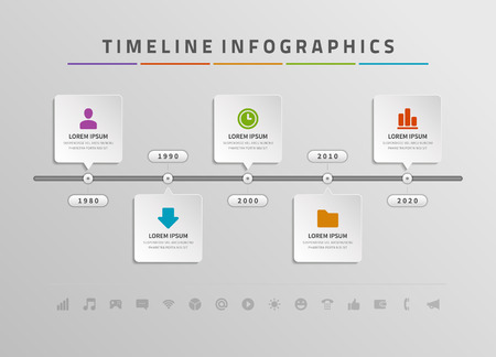 Timeline infographic and icons vector design template.  For web design, timeline and workflow layout. Ilustração