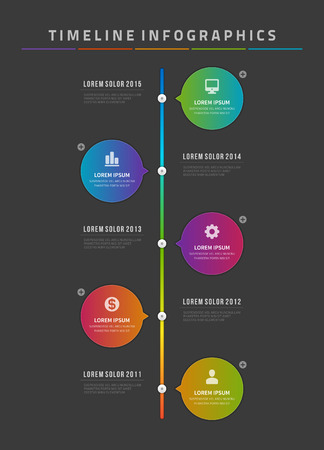 contemporary design: Timeline infographic and icons vector design template.  For web design, timeline and workflow layout. Illustration