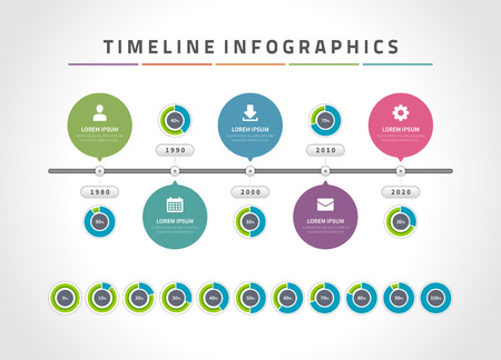 schedule reports: Timeline infographic and icons vector design template.  For web design, timeline and workflow layout. Illustration