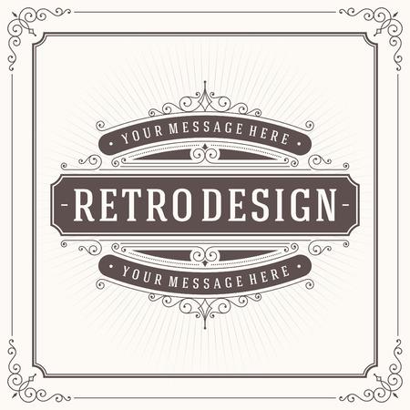 Vintage design template. Retro wenskaart bloeit, kalligrafische en typografische elementen. Sjabloon voor ontwerp uitnodigingen, affiches en andere design.