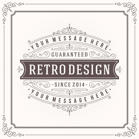 borders: Vintage design template. Retro greeting card flourishes, calligraphic and typographic design elements. Template for design invitations, posters and other design.