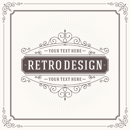 page decoration: Vintage design template. Retro greeting card flourishes, calligraphic and typographic design elements. Template for design invitations, posters and other design.