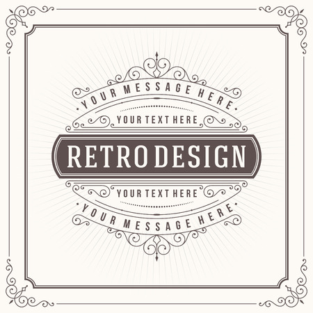 Vintage design template. Retro greeting card flourishes, calligraphic and typographic design elements. Template for design invitations, posters and other design. Vector