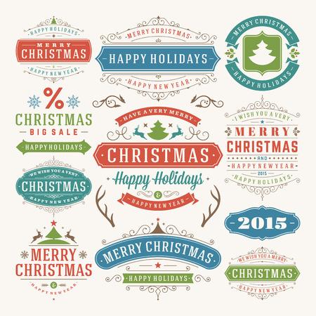 kerst interieur: Kerst decoratie vector design elementen. Vrolijk kerstfeest en gelukkig feestdagen wishes.Typographic elementen, vintage etiketten, frames, ornamenten en linten, in te stellen. Bloeit kalligrafische. Stock Illustratie