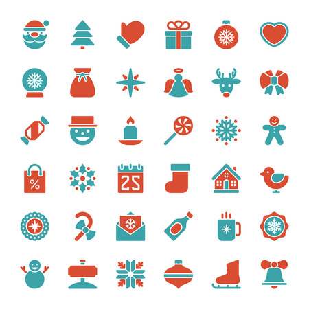 Christmas icons vector set. Christmas decorations objects and symbols collection.