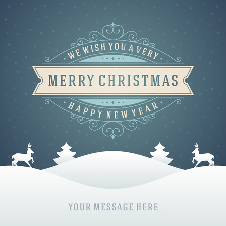 Christmas retro typographic and ornament decoration. Merry Christmas holidays wish greeting card and vintage background. Happy new year message.