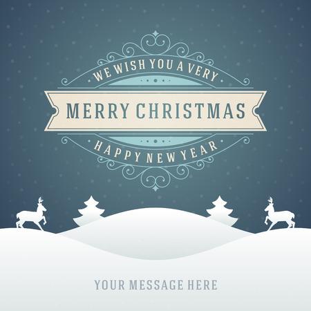 Decorazioni di Natale retrò tipografica e ornamento. Vacanze Buon Natale desiderano biglietto di auguri e sfondo vintage. Felice anno nuovo messaggio. Archivio Fotografico - 31994321