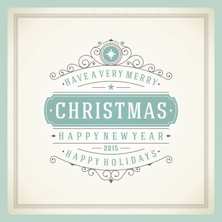 Christmas retro typography and ornament decoration. Merry Christmas holidays wish greeting card design and vintage background. Happy new year message.  Vector