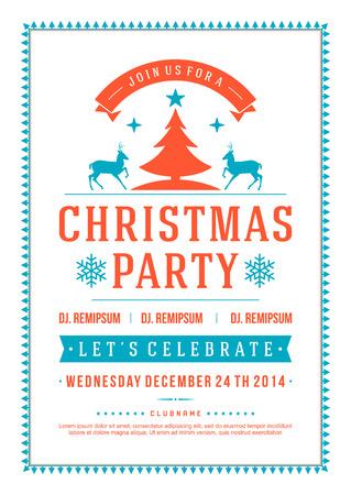 vacanza: Festa di Natale invito tipografia retrò e decorazione di ornamento. Natale vacanze Flyer o poster.