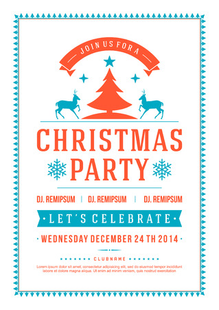 invitación a fiesta: Invitación de la fiesta de Navidad tipografía retro y la decoración de adornos. Vacaciones de Navidad Flyer o diseño de carteles. Vectores