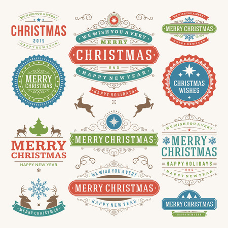 moños navideños: Decoración de Navidad elementos de diseño vectorial. Feliz Navidad y felices fiestas wishes.Typographic elementos, etiquetas de época, cuadros, adornos y cintas, establecen. Flourishes caligráficos.