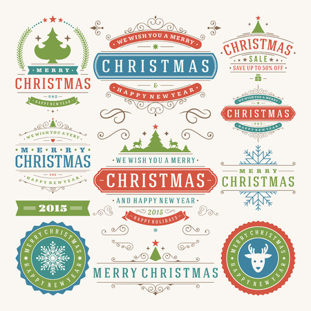 happy new year text: Christmas decoration vector design elements. Merry Christmas and happy holidays wishes.Typographic elements, vintage labels, frames, ornaments and ribbons, set. Flourishes calligraphic.