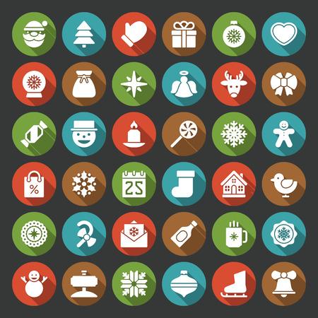 galletas de jengibre: Navidad iconos conjunto de vectores. Navidad objetos y símbolos decoraciones colección. Vectores