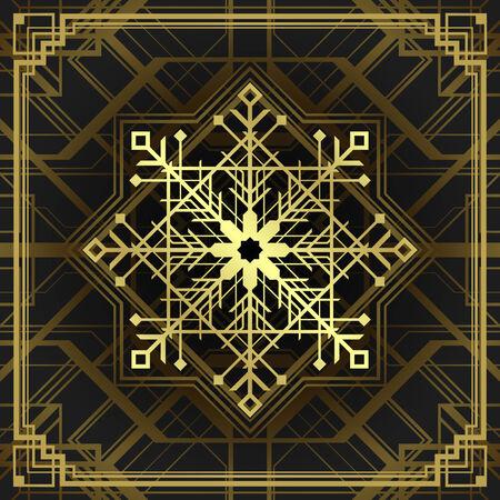 line art: Arte del copo de nieve estilo deco Navidad. D�as de fiesta de la Feliz Navidad desea la tarjeta de felicitaci�n de la vendimia y ornamento decoraci�n.