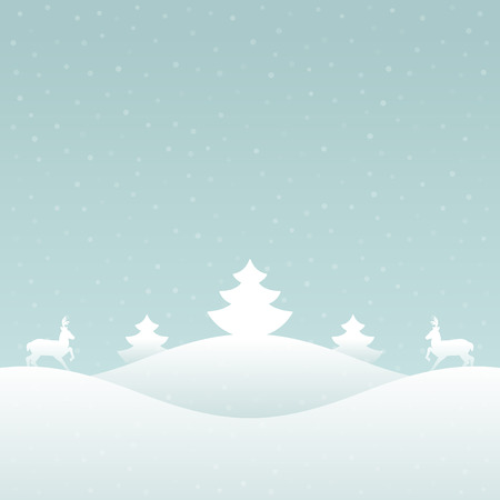 Christmas retro winter lanscape and trees greeting card background.  Vector