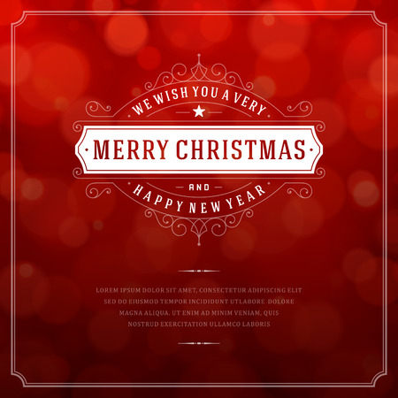 bokeh: Christmas retro typography and light background. Merry Christmas holidays wish greeting card design and vintage ornament decoration. Happy new year message.