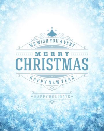 Noël rétro typographie et de la lumière avec des flocons de neige. Vacances Joyeux Noël souhaitent conception de cartes de voeux et de la décoration d'ornement vintage. Nouveau message Bonne année. Banque d'images - 31995265