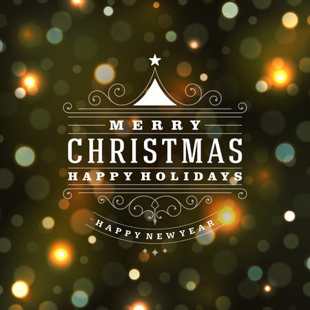 Kerstmis retro typografie en lichte achtergrond. Prettige kerstdagen wensen wenskaart design en vintage ornament decoratie. Gelukkig Nieuwjaar bericht. Stock Illustratie
