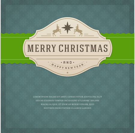 season's greeting: Christmas retro typography and ornament decoration. Merry Christmas holidays wish greeting card design and vintage background. Happy new year message.  Illustration