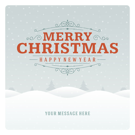 alps: Christmas retro typographic and ornament decoration. Merry Christmas holidays wish greeting card and vintage background. Happy new year message.
