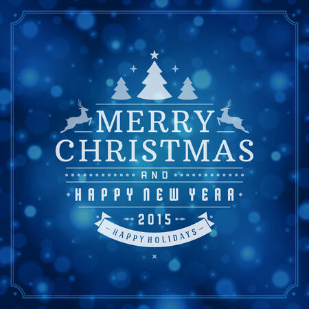 happy new year text: Christmas retro typography and light background. Merry Christmas holidays wish greeting card design and vintage ornament decoration.