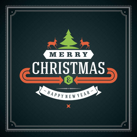 Christmas retro typographic and ornament decoration. Merry Christmas holidays wish greeting card and vintage background.    Vector