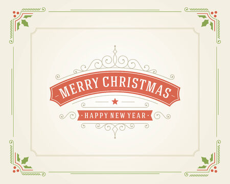 Christmas retro typography and ornament decoration. Merry Christmas holidays wish greeting card design and vintage background.   Illustration