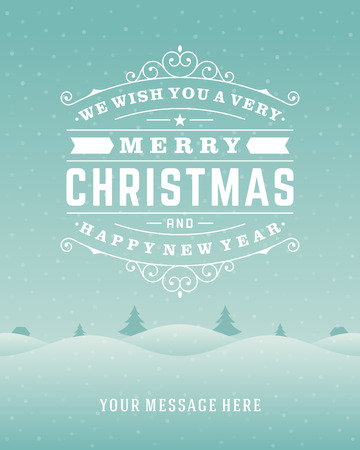 light landscape: Christmas retro typography and ornament decoration. Merry Christmas holidays wish greeting card design and vintage background. Happy new year message.  Illustration