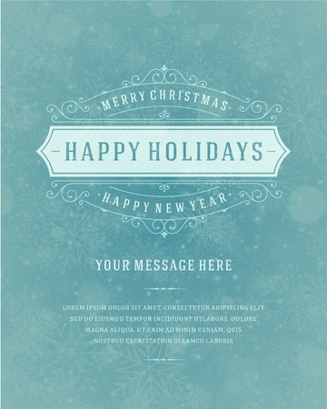 Christmas retro typography and light with snowflakes. Merry Christmas holidays wish greeting card design and vintage ornament decoration.  Vector