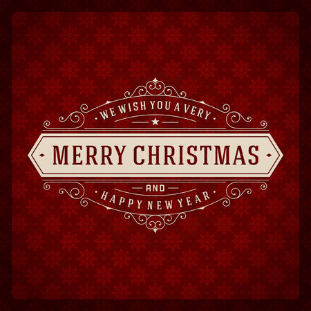 red label: Christmas retro typography and ornament decoration. Merry Christmas holidays wish greeting card design and vintage background.