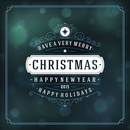 Christmas retro typography and light background. Merry Christmas holidays wish greeting card design and vintage ornament decoration.