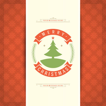 Christmas retro typography and ornament decoration. Merry Christmas holidays wish greeting card design and vintage background.   Vector