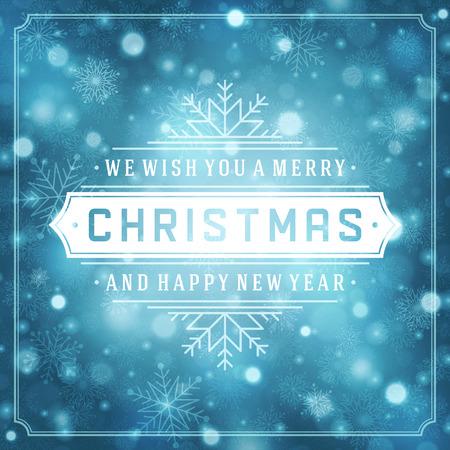 neige noel: Noël rétro typographie et de la lumière avec des flocons de neige. Vacances Joyeux Noël souhaitent conception de cartes de voeux et de la décoration d'ornement vintage. Illustration