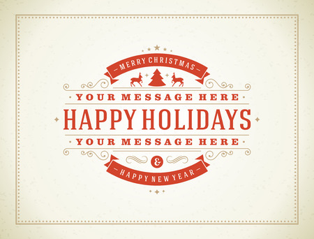 merry christmas text: Christmas retro typography and ornament decoration. Merry Christmas holidays wish greeting card design and vintage background.   Illustration
