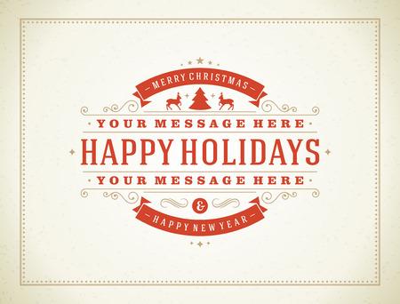 Navidad tipografía retro y ornamento decoración. Días de fiesta de la Feliz Navidad desea diseño de tarjeta de felicitación y la cosecha de fondo.