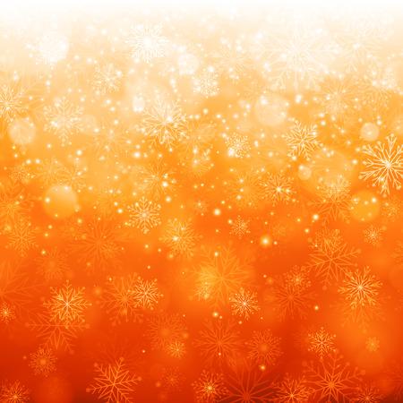 naranja color: Luz de la Navidad con copos de nieve. Vector de fondo