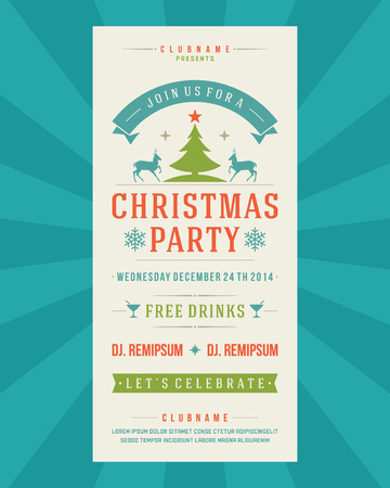 Christmas Party Invitation retro typography and ornament decoration. Christmas holidays flyer or poster design. Vector illustration Illustration