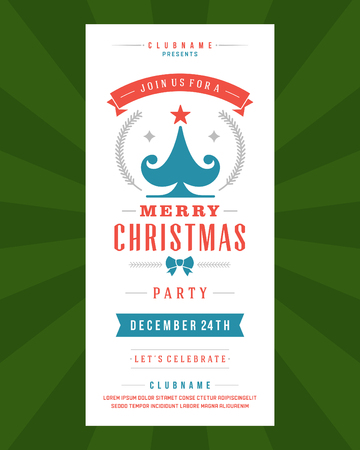 Christmas Party Invitation retro typography and ornament decoration. Christmas holidays flyer or poster design. Vector illustration Vector