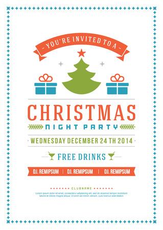 invitacion fiesta: Invitaci�n de la fiesta de Navidad de la tipograf�a retro y ornamento decoraci�n. Vacaciones de Navidad Flyer o dise�o de carteles. Ilustraci�n vectorial Vectores