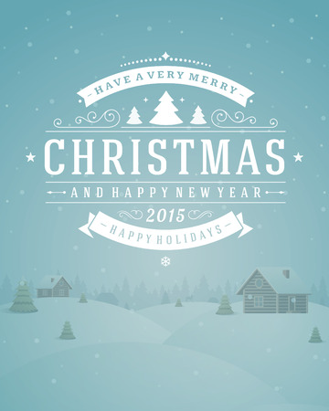 Christmas landscape with village and ornament decoration. Merry Christmas holidays wish greeting card and vintage background. Happy new year message. Vector illustration. Vector