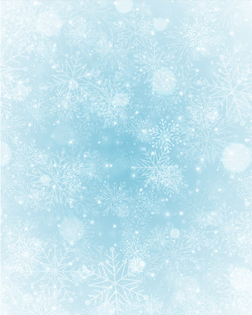 postcard background: Christmas light with snowflakes. Merry Christmas holidays wish greeting card.  Illustration