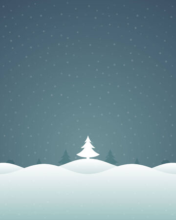 Christmas retro winter landscape and trees greeting card background. Vector illustration Vector